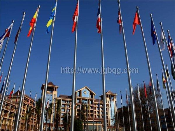 老挝峰会酒店51根11米锥形旗杆案例
