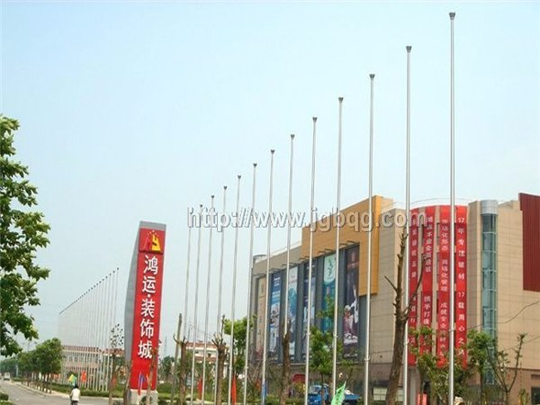鸿运装饰城57根旗杆15米旗杆案例